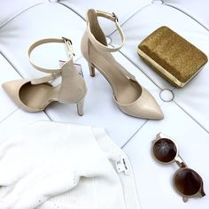 """Zara Nude Pumps Nude Pumps from Zara. Brand new with tags. No box. Beautiful Patent style pumps with asymmetric cross strap. Fits true to size. Heel is 4"""". Beautiful with any outfit!💋❤️😘 #spring Zara Shoes Heels"""