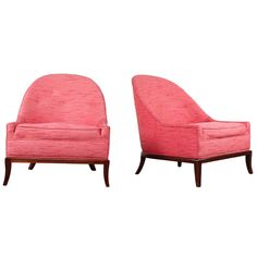 Rare Pair of T.H. Robsjohn-Gibbings Slipper Chairs | From a unique collection of antique and modern slipper chairs at http://www.1stdibs.com/furniture/seating/slipper-chairs/