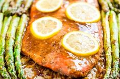 Glazed Honey Dijon Roasted Salmon with Asparagus - you can have dinner on the table in just 20 minutes! Salmon And Asparagus, Roasted Salmon, Asparagus Recipe, Fish Recipes, Seafood Recipes, Paleo Recipes, Seafood Dishes, Fish And Seafood, Honey Mustard Glaze