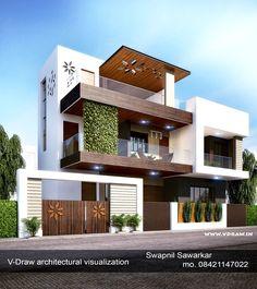 TheGuerrant V-Draw architectural visualization Interior House Design Architectural VDraw Vis. Modern Bungalow Exterior, Modern Exterior House Designs, Modern House Facades, Modern Houses, Kerala House Design, Unique House Design, House Front Design, 3 Storey House Design, Duplex House Design