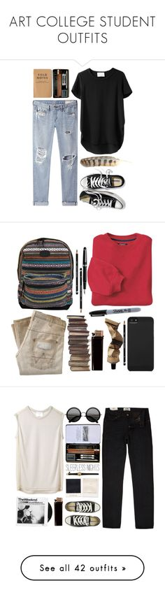 """""""ART COLLEGE STUDENT OUTFITS"""" by hey-there-deliah ❤ liked on Polyvore featuring 3.1 Phillip Lim, rag & bone/JEAN, Victoria's Secret, Wrangler, Aesop, Classique, O'Neill, Sharpie, Incase and INC International Concepts"""