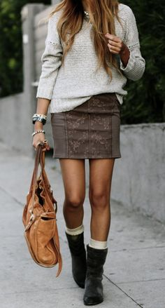 Short, straight skirt with low boots (add tights)