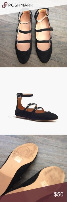 Madewell Julia Flat in Black Suede Leather with suede upper. Man made sole. Size  8. Black. Worn a few times. Madewell Shoes Flats & Loafers
