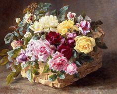 Anthonore Christensen - Stilleben mit Rosen in einem Korb
