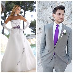 Ladybird wedding dress with purple groom www.ladybird.nl