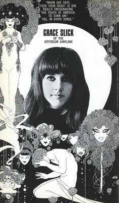 "Fantastic black and white Grace Slick and Jefferson Airplane advert . When she says ""Feed your head"" is she really encouraging the youth of America to turn on? Yes, in every sense. Yep, that sounds like Grace Slick! Grace Slick, Woodstock, Beatles, Psychedelic Rock, Rock N Roll, Jefferson Starship, Illustration Photo, Ile De Wight, New Wave"