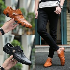af588ee83c78 Men s Driving Shoes Leather Fall   Winter Loafers   Slip-Ons Black   Brown    Buckle   EU40