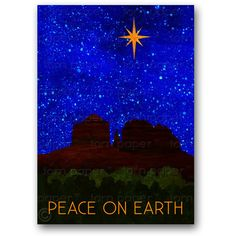 SEDONA ARIZONA Christmas Card Cathedral Rock Peace on Earth Collage... (115 UAH) ❤ liked on Polyvore featuring home, home decor and stationery