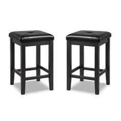 Square Duo. The Bodega duo of upholstered barstools instantly livens up any area in your home. Black, square faux leather seats are stain and spill resistant, and the black, solid hardwood frames are built to last. Four rungs at the bottom of each barstool offer a place to rest your feet, adding comfort that pairs well with your favorite cocktail.  A web-exclusive product. Item is not displayed in store, but may be ordered there. Customer assembly is required.
