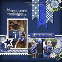 Cheerleader scrapbook page layout do one with the colors of a pom pom as background instead of ribbons