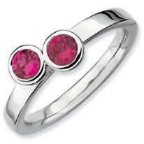 0.65ct Lovely Silver Stackable Db Round Ruby Ring. Sizes 5-10 Available Jewelry Pot. $26.99. 30 Day Money Back Guarantee. Your item will be shipped the same or next weekday!. All Genuine Diamonds, Gemstones, Materials, and Precious Metals. 100% Satisfaction Guarantee. Questions? Call 866-923-4446. Fabulous Promotions and Discounts!