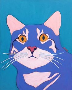 Modern Colorful Cat Paintings | Premiere Contemporary Custom Pet Portrait Painting by Animal Artist ...