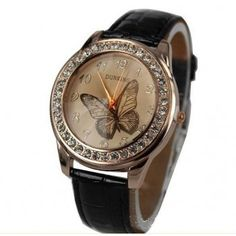 Amazing prices for wrist watches! Go to store and share to get 10% OFF order total! Fashion Crystal Colorful Butterfly Women Ladies Leather Strap Watch