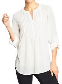 Women's Pleated Chiffon Blouses