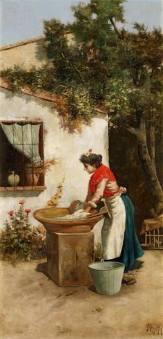 Lavandera. Guillermo Gómez Gil. 1896. Óleo