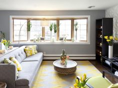 love the lg windows for lots of natural light, a d the color scheme is amazing, grey white and yellow makes for a very clean bright look