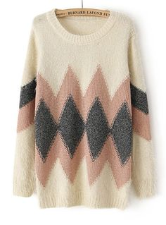 Beige Long Sleeve Geometric Pattern Knit Sweater - Sheinside.com