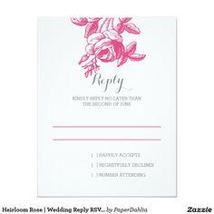 Heirloom Rose | Wedding Reply RSVP Card