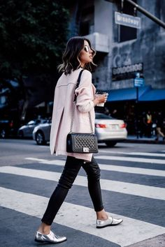 pink coat + black leggings + silver shoes