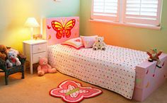 Girls Butterfly Bedroom Makeover - Better Homes and Gardens - Yahoo! New Zealand Girl Room, Girls Bedroom, Bedrooms, Butterfly Bedroom, Diy Bed, Better Homes And Gardens, Bed Ideas, Room Ideas, Toddler Bed