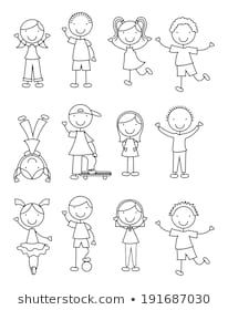 Similar Images Stock Photos Vectors of hand drawing cartoon happy kids playing - 148705514 Shutterstock Art Drawings For Kids, Doodle Drawings, Cartoon Drawings, Easy Drawings, Doodle Art, Art For Kids, Doodle People, Stick Figure Drawing, Cartoon Kids