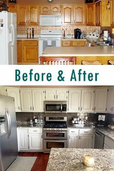 Kitchen remodel: painted oak cabinets -- before & after @ MrsShayne.com