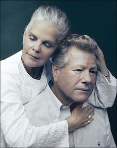 """Ali MacGraw and Ryan O'Neal in 2015, 45 years after """"Love Story""""..."""