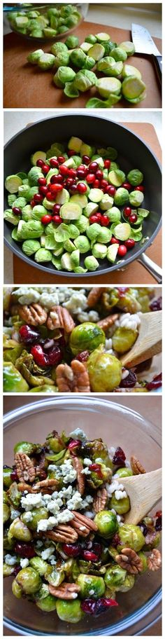 PAN-SEARED BRUSSELS SPROUTS WITH CRANBERRIES & PECANS ........ Ingredients: 1 pound brussels sprouts, de-stemed and halved 2/3 cup fresh cranberries 1/3 cup gorgonzola cheese, crumbled 1/3 cup pecans 1/2 cup barley 1 tablespoon maple syrup 1 tablespoon balsamic vinegar Olive oil Salt & pepper ..... Get instructions here ...Kur <3