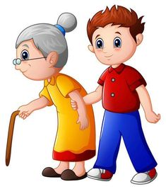 Boy helps old lady and helping her to walk with her cane Stock Photo , Cartoon Pics, Cute Cartoon, School Board Decoration, Bird Feeder Craft, Sunday School Projects, People Who Help Us, Shapes For Kids, Islam For Kids, Book Background