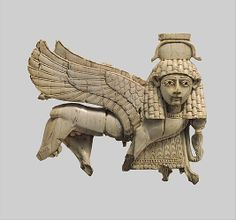 Openwork plaque with a striding sphinx    Period:      Neo-Assyrian  Date:      ca. 9th–8th century B.C.  Geography:      Mesopotamia, Nimrud (ancient Kalhu)  Culture:      Assyrian  Medium:      Ivory