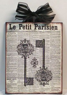 French Newspaper and Vintage keys Wood Wall Plaque