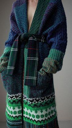 Cashmere Wool Mohair Patchwork Cardigan Coat in Hydrangea Blue - Women  Burberry 31109979494