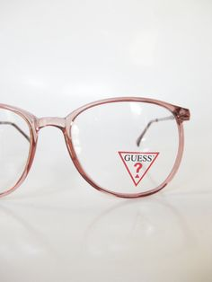 Italian Round Eyeglasses Vintage 1970s Pastel Pink Glasses Rose Clear Transparent 70s Indie Hipster Seventies Womens Italy Guess Designer
