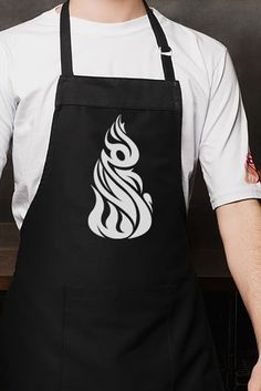 this apron doesn't have any typography which mean you cant tell what is it representing, i like the logo because its nice and big and the white colour make it stands out on the black