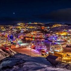 Boats decorated with Christmas light in Port de Grave in Newfoundland. Just beautiful. Photo was taken by Michael Winsor Beautiful Places In The World, Places Around The World, Amazing Places, East Coast Travel, Newfoundland And Labrador, Newfoundland Canada, Atlantic Canada, Island Tour, Canada Travel