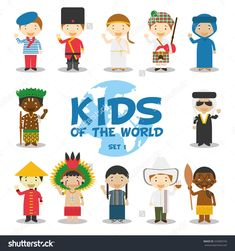 Kids of the world vector illustration: Nationalities Set 1. 12 characters in national costumes (France, Russia, Greece, Scotland, Algeria, Congo, Iraq, China, Amazon, Guatemala, Colombia and Maori).
