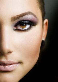 Evening makeup with heavy purple eye makeup