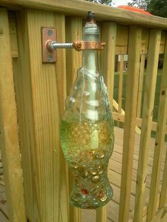 Tiki torch wine bottle