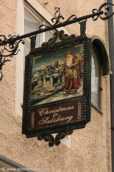 Photo of Salzburg Sign 1 Storefront Signage, Metal Signage, Displays, Pub Signs, Shop Fronts, Business Signs, Store Signs, Hanging Signs, Christmas Shopping