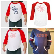 Don't miss out on Olive You Raglan shirts and XOXO sweatshirt! free Priority upgrades on shipping. @Jessica Garvin