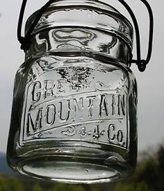 Vintage Green Mountain C A Co Pint Canning Jar Wire Bail Glass Lid | eBay