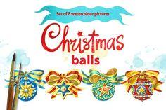 Set of 8 Christmas Balls. Watercolor by Marina.Markizova on @creativemarket