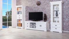 Wohnwand Olympia 3 Teilig Weiß Massive Akazie Holz Moebel Lowboard Tv  Schrank