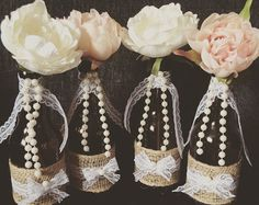 Beach Weddings. Painted Wine Bottles. by WineCountryAccents