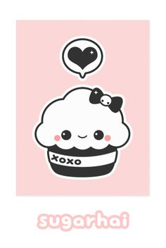 Super cute pink and gray cupcake postcards from sugarhai.