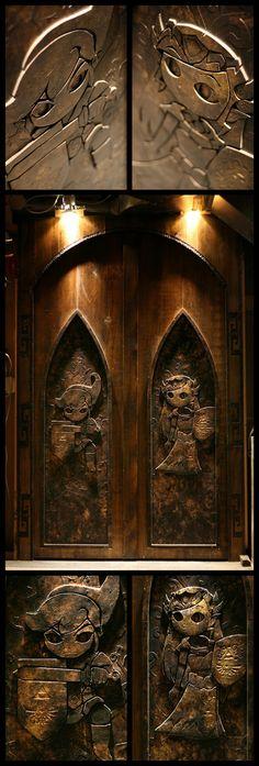 Wooden Hand-Carved Legend of Zelda Doors - via avsforums user AngrySaki