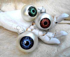 Eyeball Christmas Ornament spooky eye holiday by rainbeauxcraft