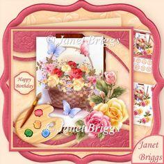 Artist's Canvas Rose Basket 7.5 Decoupage Kit - £1.20 : Instant Card Making Downloads