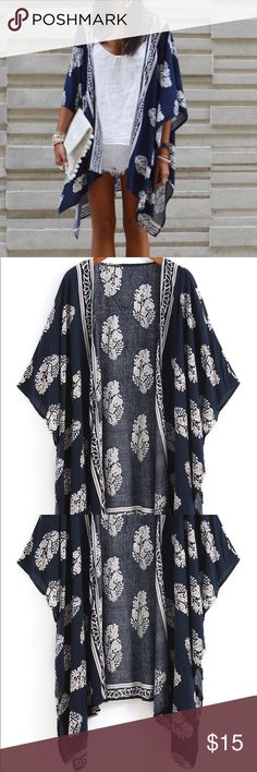 """Floral cardigan shawl Small one size Worn once apple picking as Shown 🤗 Bought from SheInside site, it is exactly shown in the picture, very nice. However it is more like a shawl, there is no stitching for the sleeves, it is just a giant cloth and can be worn as either a cardigan, shawl, scarf, wrap, etc. I'd recommend getting a pin and pinning it where you want the sleeves if you want to wear it as a cardigan. Size """"small"""" but since you adjust everything yourself or just throw it over, I'd…"""