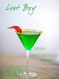 """Peter Pan-inspired drink """"Lost Boy"""" (made with Midori, peach schnapps and Malibu). For a Peter Pan themed dinner or movie night. Malibu Cocktails, Disney Cocktails, Disney Alcoholic Drinks, Summer Cocktails, Cocktail Drinks, Fun Drinks, Cocktail Recipes, Disney Mixed Drinks, Disney Themed Drinks"""